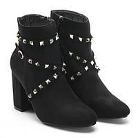 Красивые замшевые женские ботинки на устойчивом каблучке