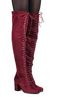 Яркие стильные сапоги ботфорты на шнуровке спереди  размеры 40, фото 1
