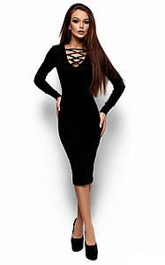 Стильне чорне вечірнє плаття-міді Shardone (S-M, M-L)