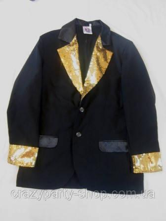 Пиджак  карнавальный черный с золотистой отделкой