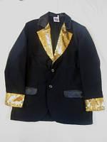 Пиджак  черный с золотистой отделкой