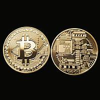 Сувенирная монета Биткоин золотой
