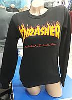Стильный женский свитшот Thrasher на флисе черный