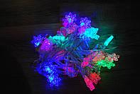 Гирлянда светодиодная снежинки 40 LED мульти 5,8 метров