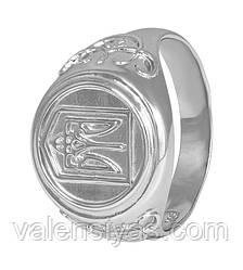 Мужской серебряный перстень с гербом Украины К2/385