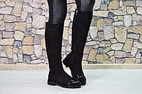 Женские зимние сапоги чёрные с лаковым носочком  QQ