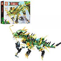 Конструктор детский 480 деталей «Механический дракон зеленого ниндзя» SY918, фото 1