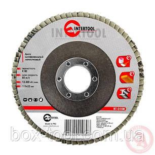 Диск шлифовальный лепестковый 115x22 мм, зерно K80 INTERTOOL BT-0108, фото 2