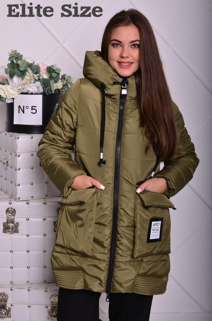 Женская курточка зимняя на синтепоне с капюшоном.