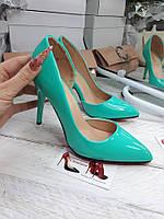 Лодочки туфли каблук бирюза