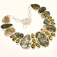 Крупное Колье, ожерелье с Моховым АГАТОМ и Кварцем
