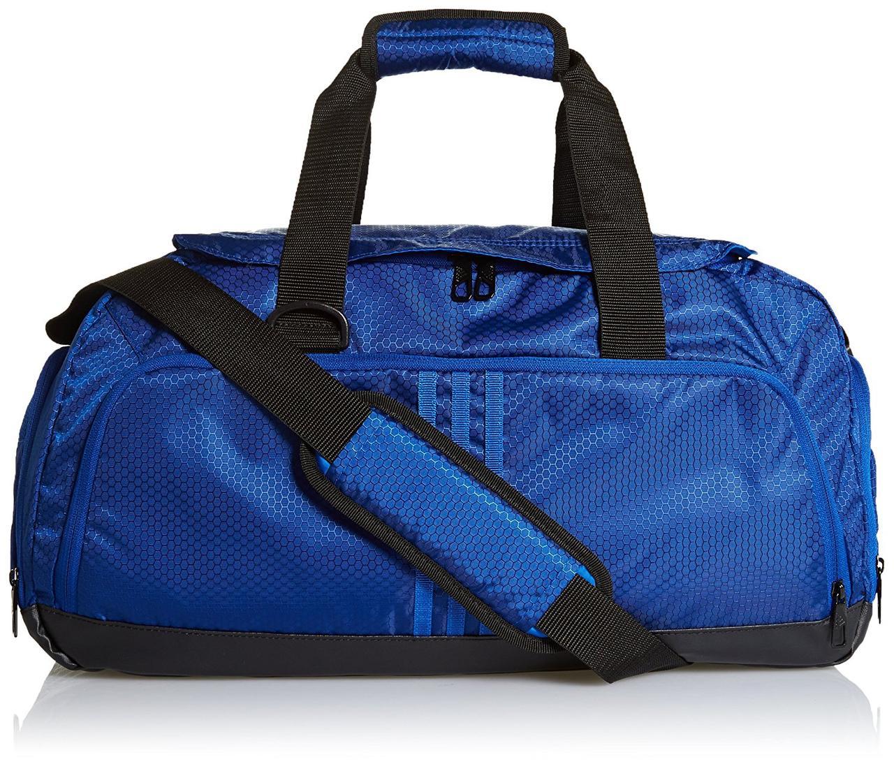 Сумка спортивная adidas 3 Stripe Small AB2343 (синяя, вентилируемый отсек для обуви, 38 литров, бренд адидас)