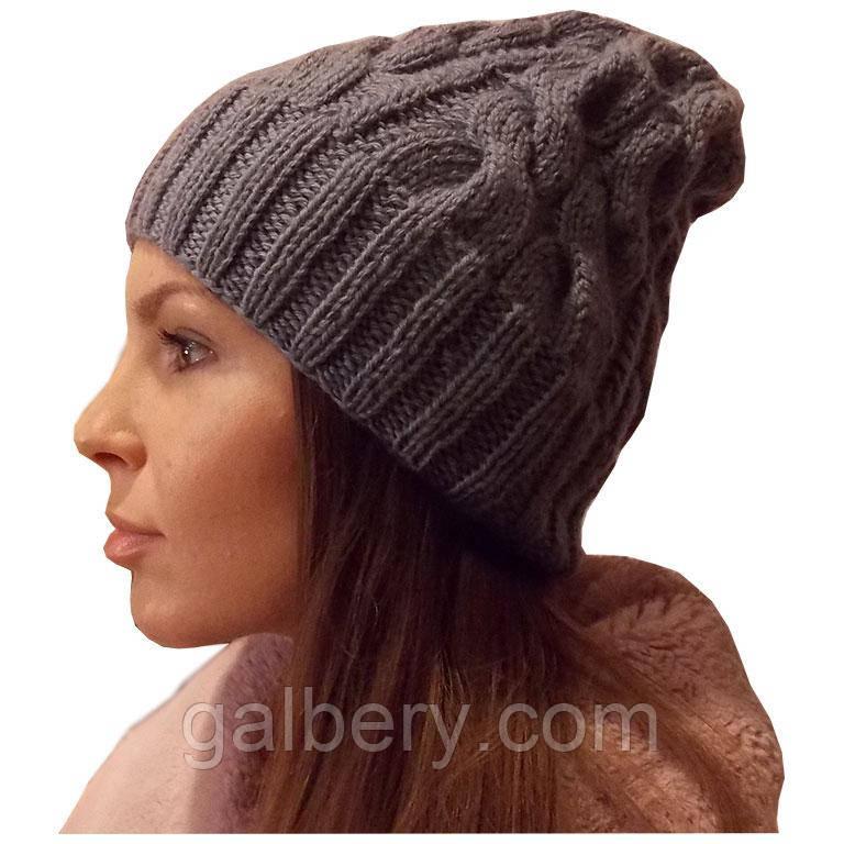 Женская вязаная шапка в стиле Лало, объемной вязки косами.