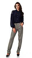 Женские брюки из шерсти елочка бежевые оптом. Модель БР28_елочка бежевая., фото 1