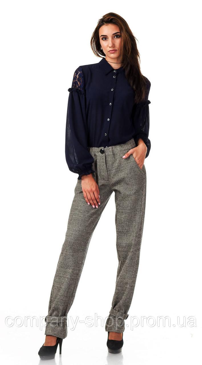 Женские брюки из шерсти елочка бежевые оптом. Модель БР28_елочка бежевая.