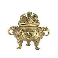 Ваза достатка с драконами из бронзы 15х16х12 см. желтая (4241в)