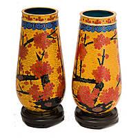 Две вазы клуазоне - сакура 15х7 см желтые (А4529)