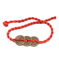 Амулет денежной удачи 3 монеты 22х1,2 см. красный (А7775)