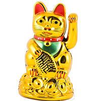 Кошка манеки-неко пластик 11 см золотистая (А3995)