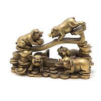 Статуэтка Свиньи на жезле жуи 12,5х18х8,5 желтая (2978)
