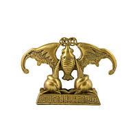 Статуэтка Летучая мышь с монетами 10х14,5 см желтая (4219)