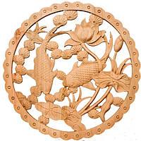 """Картина резная """"Рыбки"""" диаметр 28 см коричневая (В0923)"""