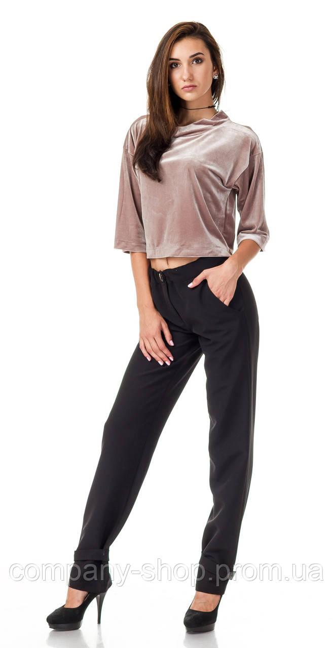 Женские брюки из крепа с манжетом оптом. Модель БР28_черный креп., фото 1