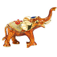 Шкатулка слон 9х11х4 см оранжевая (4674)