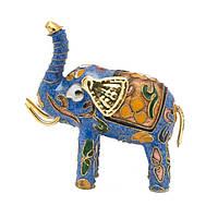 Статуэтка Слон хобот вверх 8х8х3,5 см голубая (А7734)