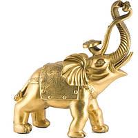Статуэтка Слон с жезлом жуи большой 27х22х9 см желтая (А4281)