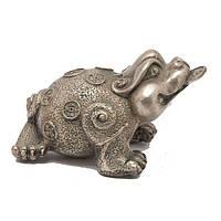 Статуэтка Лягушка фен-шуй - трехлапая жаба 7х12х8 см серебристая (А8283)