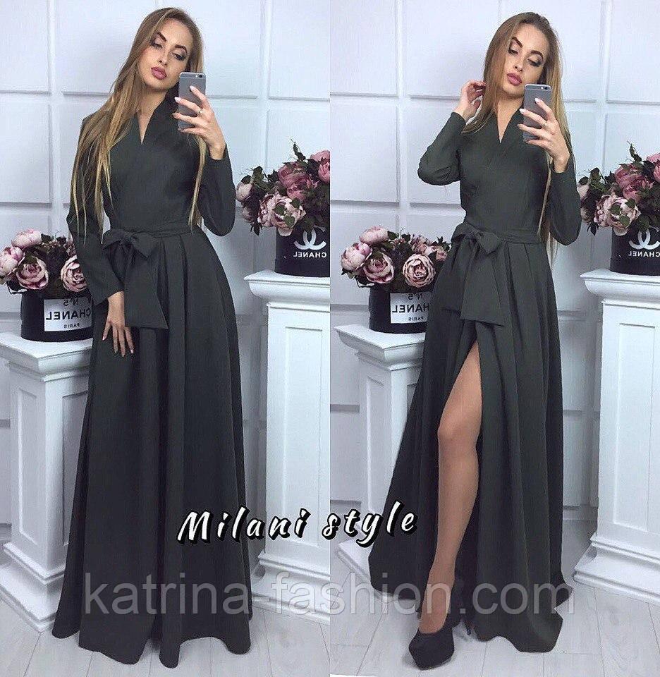 Женское модное платье в пол на запах с поясом (5 цветов)  продажа ... a21a45be064