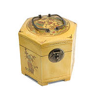 Сундук шестигранный 18х17,5х17,5 см желтый (А4896)