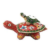 Шкатулка черепаха - техника клуазоне 6х11х7 см красная (А7750)