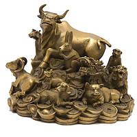 Статуэтка 12 животных фэн-шуй 15х17х17 см желтая (А8288)