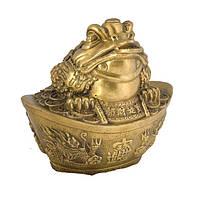 Статуэтка Трехлапая жаба на чаше 13,5х14,5х10 см желтая (1063)