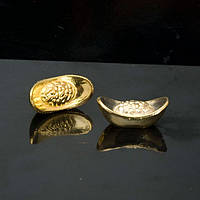 Чаша богатства - маленький слиток 0,8х2,2 см золотистая (А7213а)