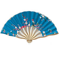 Веер ручной складной 21х36 см. синий (В1556)