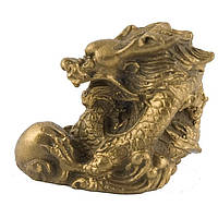 Статуэтка Дракон с жемчужиной высота 4,5 см. желтая (5064)