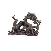 Статуэтка Дракон с жемчужиной высота 7,5 см. коричневая (3509)
