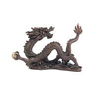 Статуэтка Дракон с жемчужиной высота 6 см. коричневая (3514)