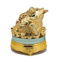 Статуэтка Трехлапая жаба на монетах 13х11х11 см золотистая (А8126)