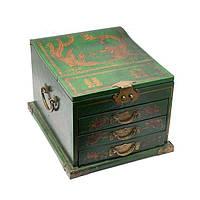 Сундук большой зеленый с ящиками 31х30х20 см зеленый (А8503)