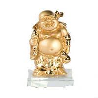 Статуэтка Хотей на стекле 9 см. золотистая (9023)