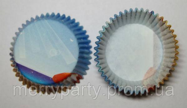 Формочки для маффинов, капкейков д.6 см голубые 25шт./уп.