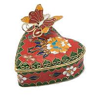 Шкатулка клуазоне - сердце с бабочкой
