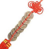 Подвеска 6 монет большая 33 см. красная (0069)