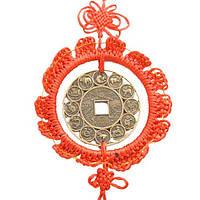 Подвеска монета гороскоп большая 50х21 см. красная (0070а)