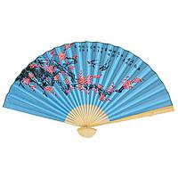 Веер настенный птицы на сакуре 90х160см. синий (В4726)