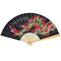 Веер настенный бамбук и сакура 50х90 см. черный (В4730)